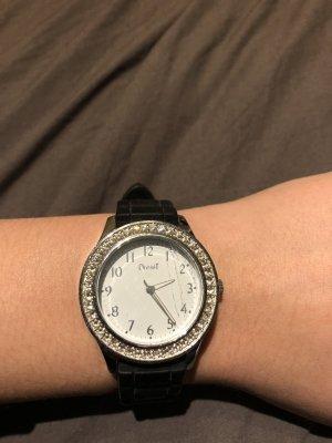 schwarze Uhr mit Glitzerrand