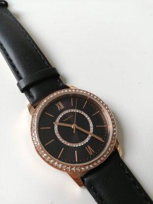 TCM Horloge met lederen riempje zwart-roségoud