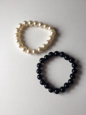 Armband met parels wit-zwart