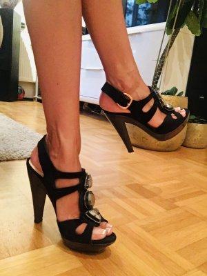 Schwarze Velour Leder High Heels von Sacha London, Gr 37