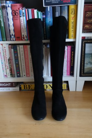 Schwarze Velours Overknee-Stiefel