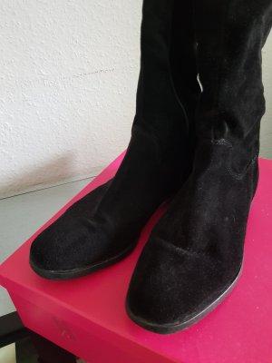 Schwarze Veloursleder Stiefel