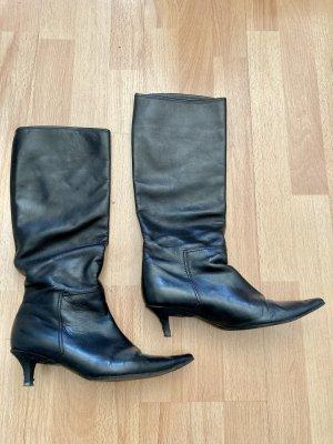 Schwarze Vintage-Lederstiefel mit Absatz