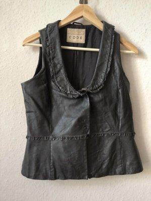 Schwarze vintage Lederweste von sportmax CODE