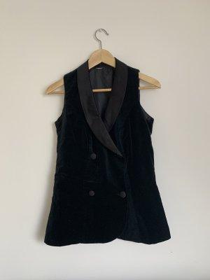 Schwarze Vintage Weste aus Samt