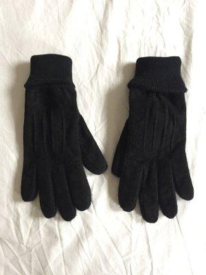 Leren handschoenen zwart Suede