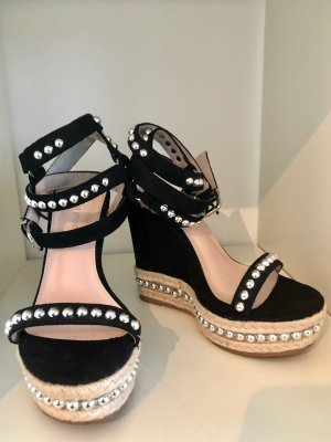 Schwarze Wedges / Keilabsatz Sandaletten