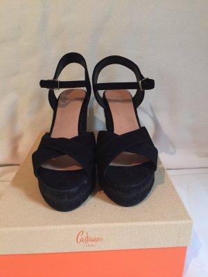 Castañer Wedge Sandals black cotton