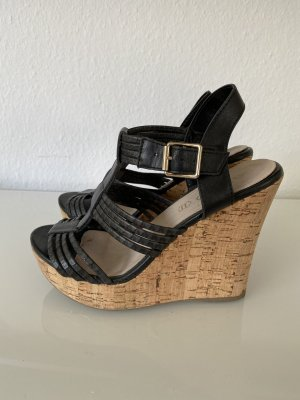 Aldo Wedge Sandals black-brown