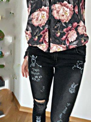 Jeans vita bassa nero-bianco