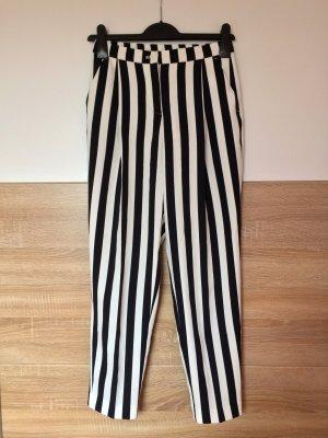 Schwarze weiß Streifen Bundfalten Hose von Monki, Gr. 32