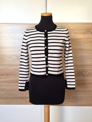 Zara Cardigan tricotés blanc-noir tissu mixte