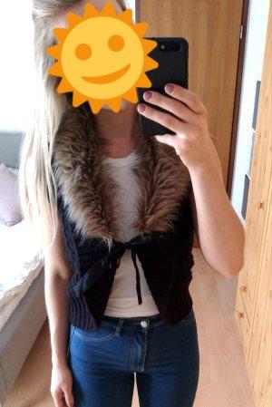 Fake Fur Vest black-beige