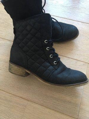 Schwarze Wilderleder Boots Stiefeletten Schnürschuhe 38