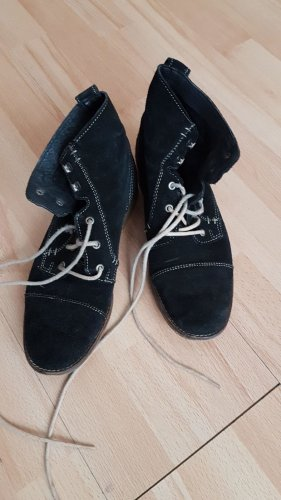 Schwarze Wildleder Boots Schnürer Stiefel beige Schnürsenkel (Görtz)
