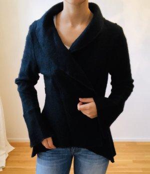 Schwarze Wolljacke, neu, tailliert, Größe L