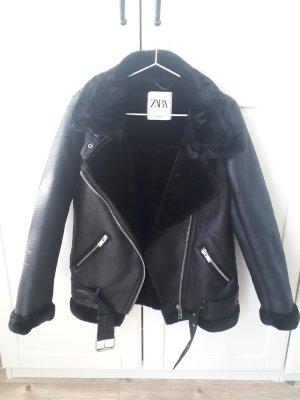 Zara Chaqueta de aviador negro piel artificial