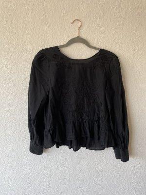 Schwarze Zara Bluse mit Strickerei und Schoß