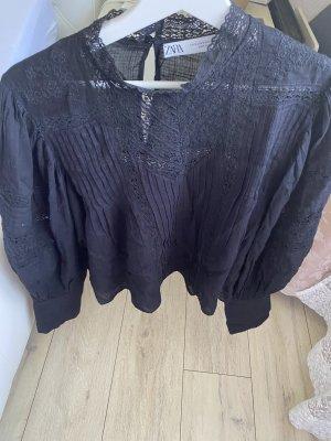 schwarze Zara Hemdbluse mit Zierfalten Gr M/38