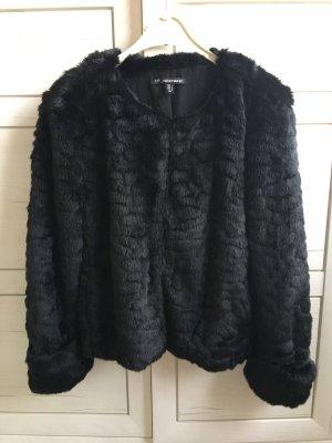 Schwarze Zara Kunstfell Jacke Fake Fur