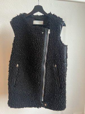 Zara Kamizelka ze sztucznym futrem czarny-srebrny