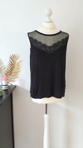 H&M Top di merletto nero Tessuto misto