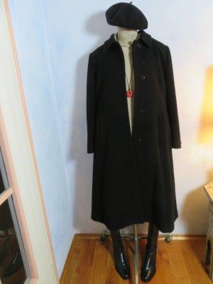 Schwarzer 100% Wolle/Cashmere  Wintermantel - Gr. 40 - warmer Wollmantel Midi - Vintage