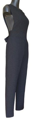 Schwarzer ärmelloser Jumpsuit mit weitem Ausschnitt im Armbereich