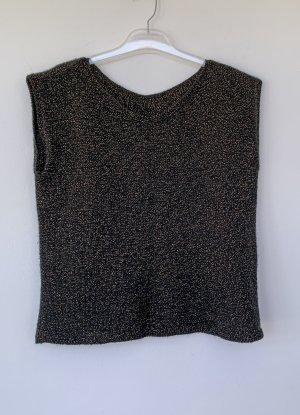 schwarzer ärmelloser Pullover mit Goldgarn, Größe 42