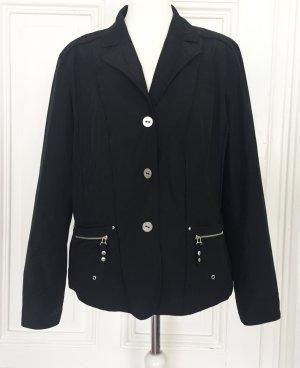 Schwarzer Blazer aus glänzendem Stoff mit silbernen Details und  leichten Schulterpolstern