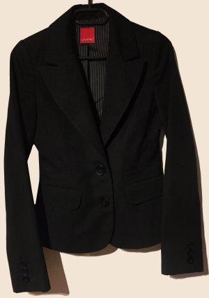 schwarzer Blazer mit dünne Schulterpolster, Gr. XS