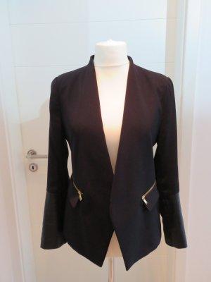 Schwarzer Blazer mit besatz und Reissverschluessen L Zara