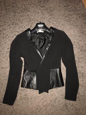 H&M Blazer de cuero negro tejido mezclado