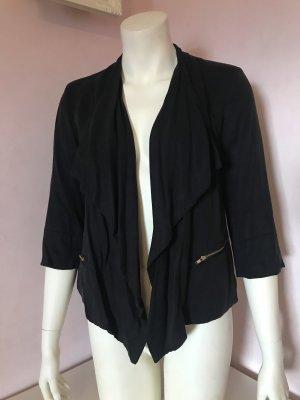 Schwarzer Blazer mit Wasserfall Ausschnitt & goldenen Details von Selected Femme