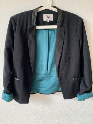 Schwarzer Blazer, Türkises Inlet, Materialmix, Größe M