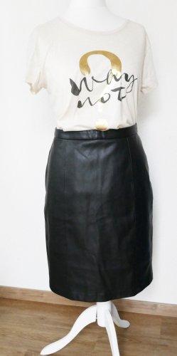 Mango Faux Leather Skirt black mixture fibre