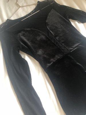 Schwarzer Body langarm transparent Samt  Ausschnitt schwarz Anzug Party elegant Ballett turnen