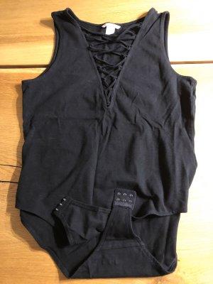Schwarzer Body, schwarz, wie neu, M, mit V-Ausschnitt