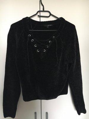 Schwarzer Chenille Pullover