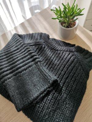 Schwarzer Chunky Mango Pullover, Übergröße Style