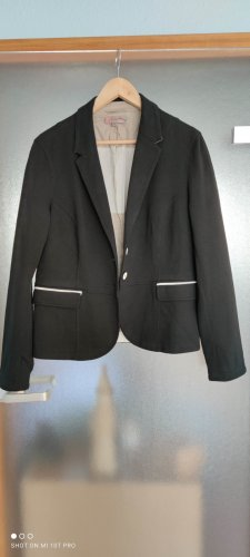 Comma Klassischer Blazer zwart Polyester