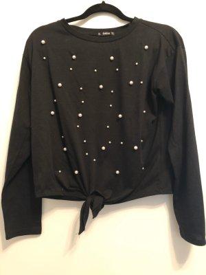 Schwarzer Crop Perlen Pullover