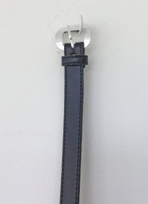 no name Faux Leather Belt black-silver-colored mixture fibre