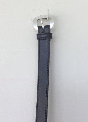 schwarzer Damen Gürtel mit silberner Schnalle - 95 cm