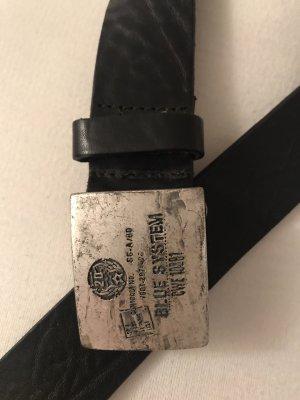 Schwarzer Echtleder-Gürtel von Blue System mit Vintage-Schnalle