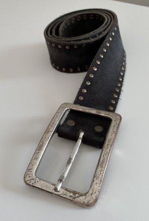 Schwarzer Echtledergürtel mit Nieten Vanzetti Größe 85