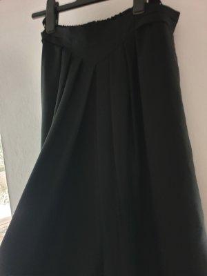 Schwarzer eleganter Rock Falten 40/42 Gummizug Reißverschluss Midilänge Taschen Bundweite 39 cm