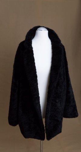 Schwarzer, Fake-Fur Oversized-Mantel in Gr.34