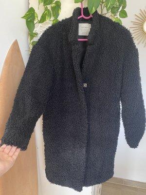 Zara Basic Kurtka ze sztucznym futrem czarny