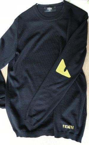 Fendi Maglione lavorato a maglia nero-giallo